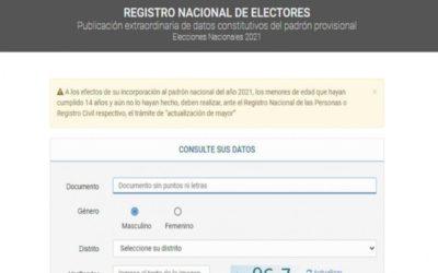 Elecciones 2021: YA SE PUEDE CONSULTAR EL PADRÓN PROVISORIO PARA LAS LEGISLATIVAS